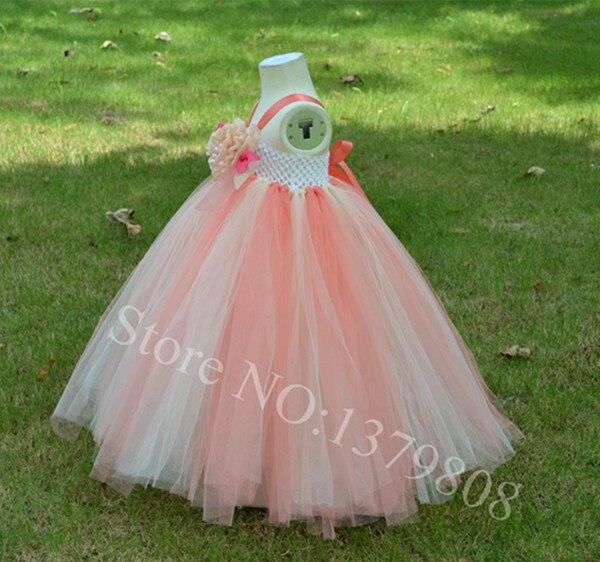 531f5a23b € 28.75 |Envío gratis hechos a mano coral mix color beige tul vestido de  niña flor añadir ramillete de flores festival visten el vestido de ...
