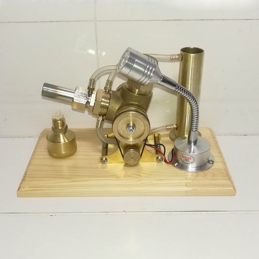 Whole Copper Wooden base water cooled V-type Stirling engine generator model Experimental engine Birthday gift Stirling engine the latest stirling model boutique stirling