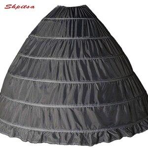 Image 4 - 6 الأطواق ثوب نسائي تحتية لفستان الزفاف الكرة ثوب قماش قطني امرأة هوب تنورة