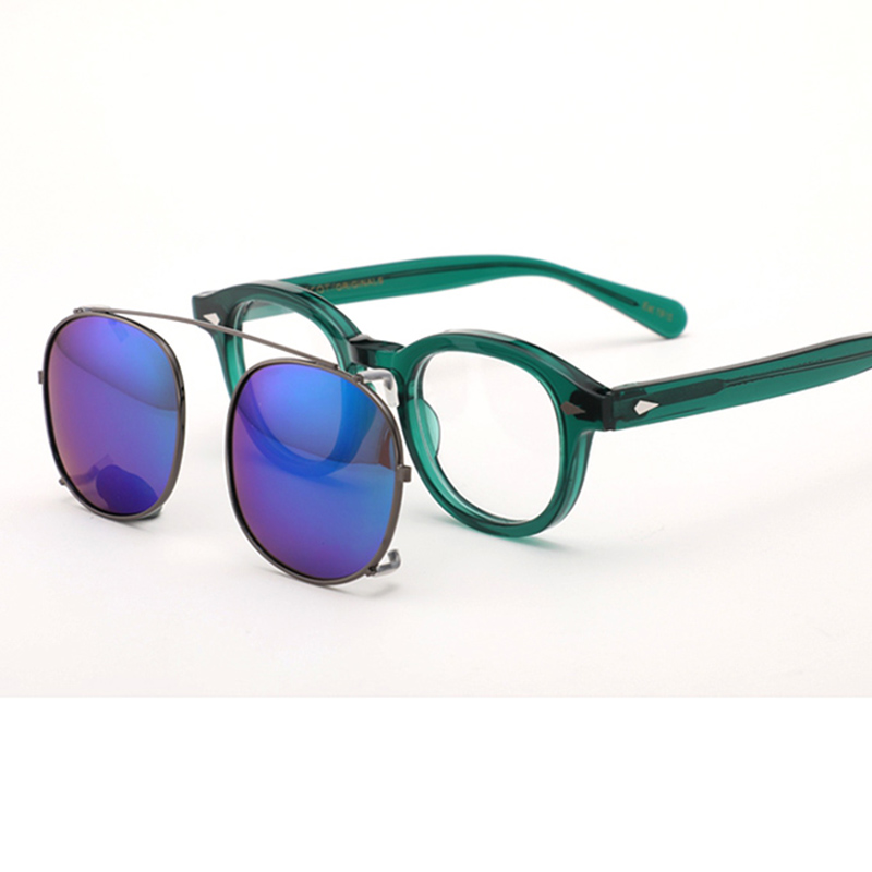 Clip On Sunglasses Polarized Lens Johnny Depp Glasses Men Green Acetate Optical Glasses Frame Women Brand Design Top quality 082 in Men 39 s Eyewear Frames from Apparel Accessories