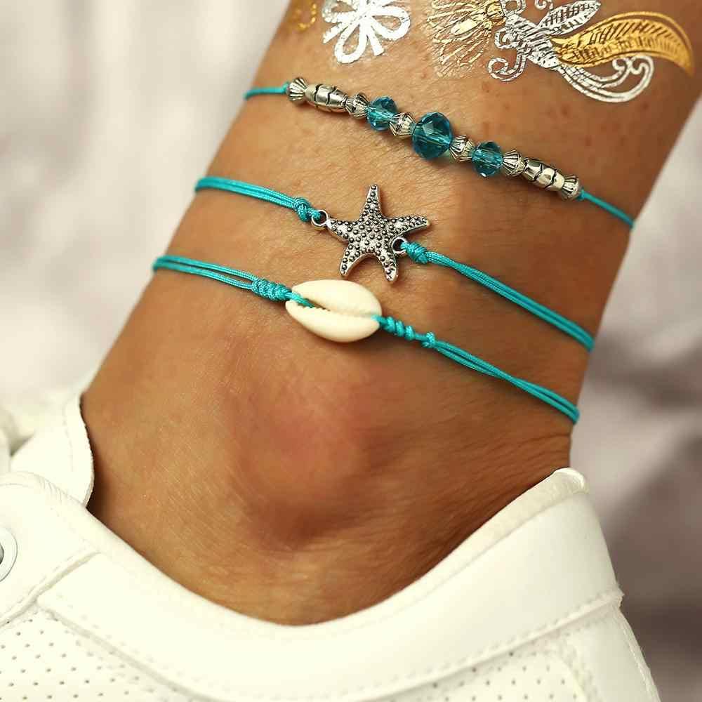 Винтажная многослойная оболочка слоя Кристалл ретро-браслет на ногу для женщин девушка леггинсы цепочка Шарм Морская звезда браслет из бисера модные пляжные украшения