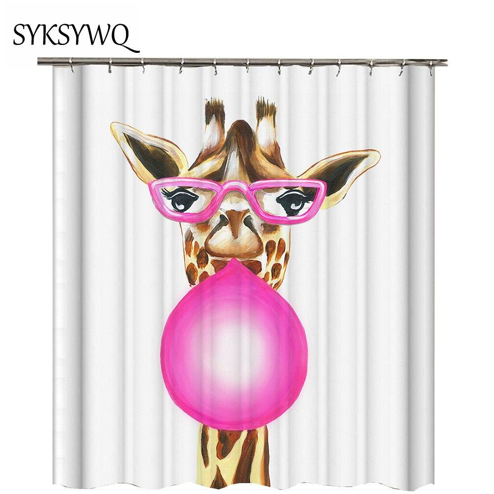 printing giraffe pink balloon bathroom curtain 2018 new arrival waterproof polyester fabric shower curtain