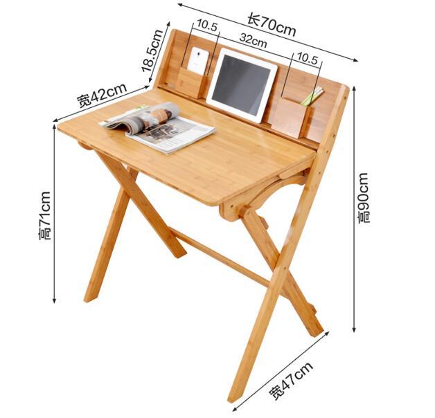 90 * 74 * 71 CM Bambuskrivbord Skrivbord Fällbart studiebord - Möbel - Foto 2