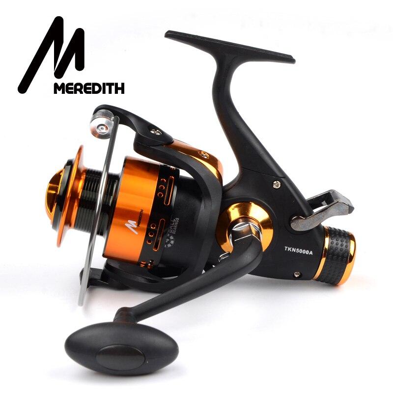 Meredith 4bb 8 kg 5.2: 1 doble arrastre aluminio CNC metal spinning carretes Carretes de pesca carretes carpa 3000 4000 5000 6000 Series