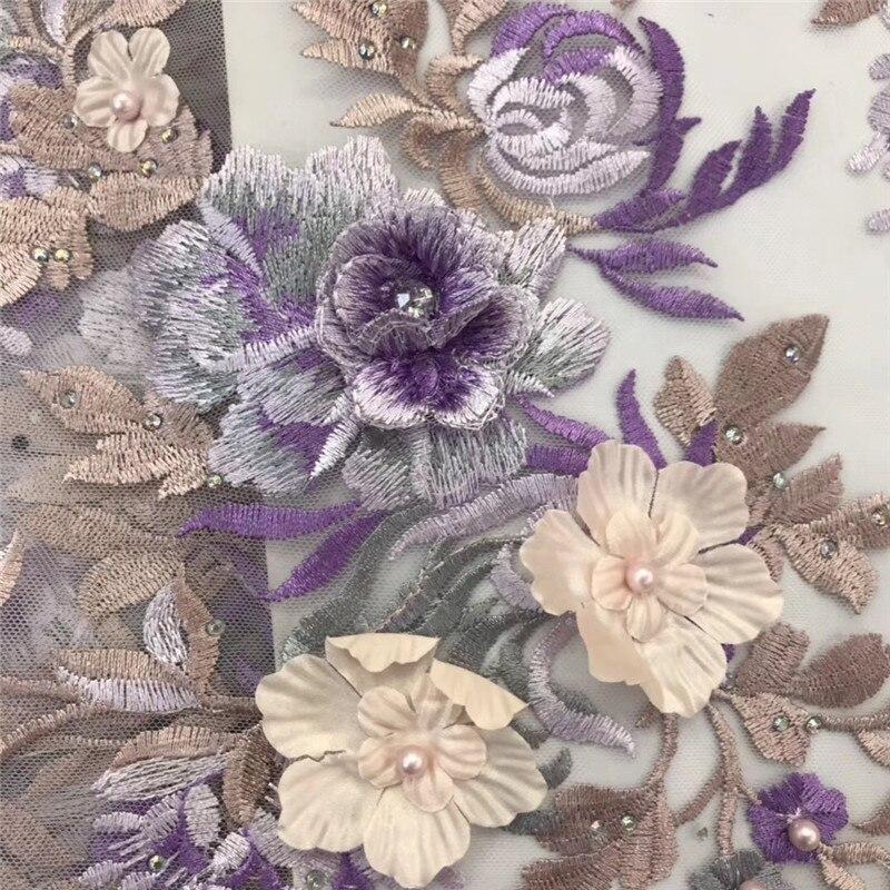 Beautifical 3d dentelle tissus africaine robe en dentelle 2019 tissu dentelle avec perles et pierres pour les femmes 5 yards/lot ML7N144