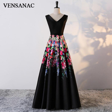 VENSANAC 2018 A Line Floral Print Flowers V Neck Long Evening Dresses Elegant Tank Prom Lace Pattern Party Gowns