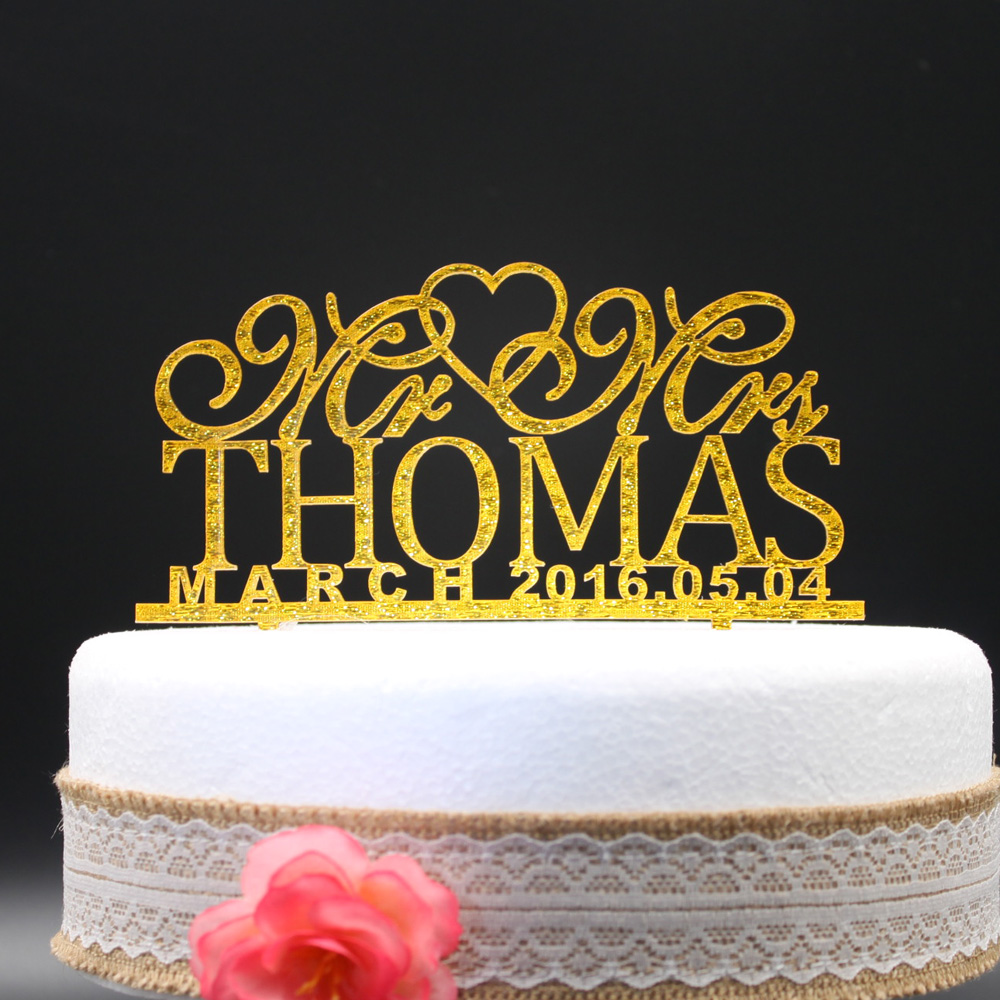 Personalized Wedding Cake Toppers, Custom name date Mr Mrs Acrylic ...