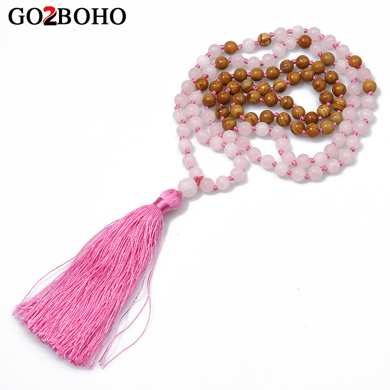 Go2boho Pink Tassel Long Necklaces Women Fashion Boho Ethnic Natural Semi-precious Stones Handmade Weave Knotted Beaded Choker