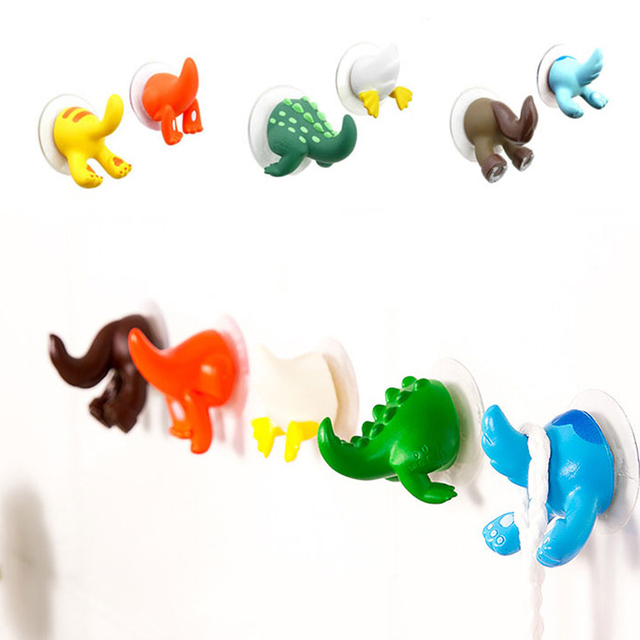 6Pcs/set Cute Cartoon Animal Tail Strong Sucker Suction Hook Baby Bathroom Key Towel Hanger Holder Hooks Home Kitchen Accessorie 1
