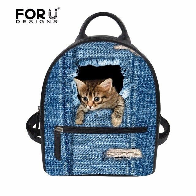 b55086ca1de0 FORUDESIGNS Small Women Backpacks Female Girls School Bags Cute 3D Denim  Cat Dog PU Leather Women Backpack Shoulder Bag Purse