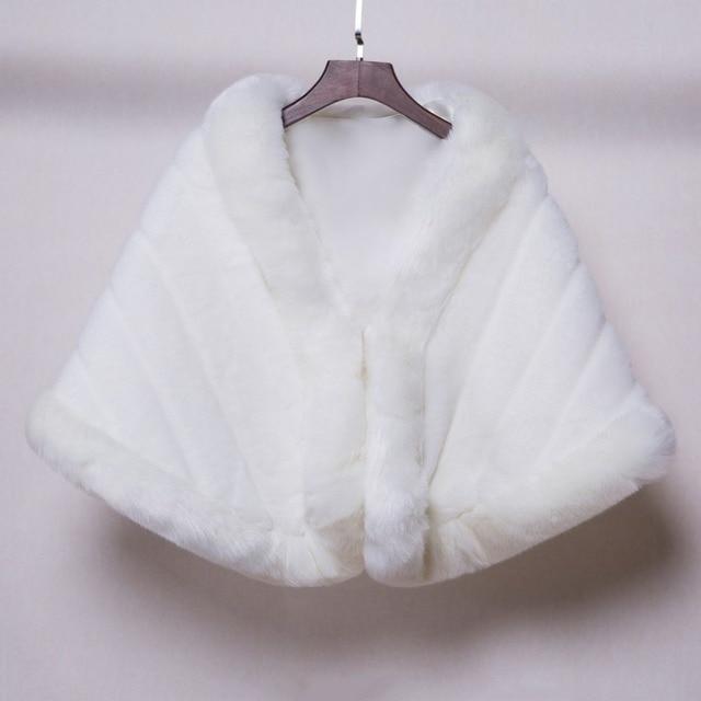 Capa Casamento Do inverno Casaco De Pele Branco Casamento Xaile Jacket 2017 Casacos De Casamento Wraps Nupcial Bolero Faux Fur Estolas Jaquetas Barato