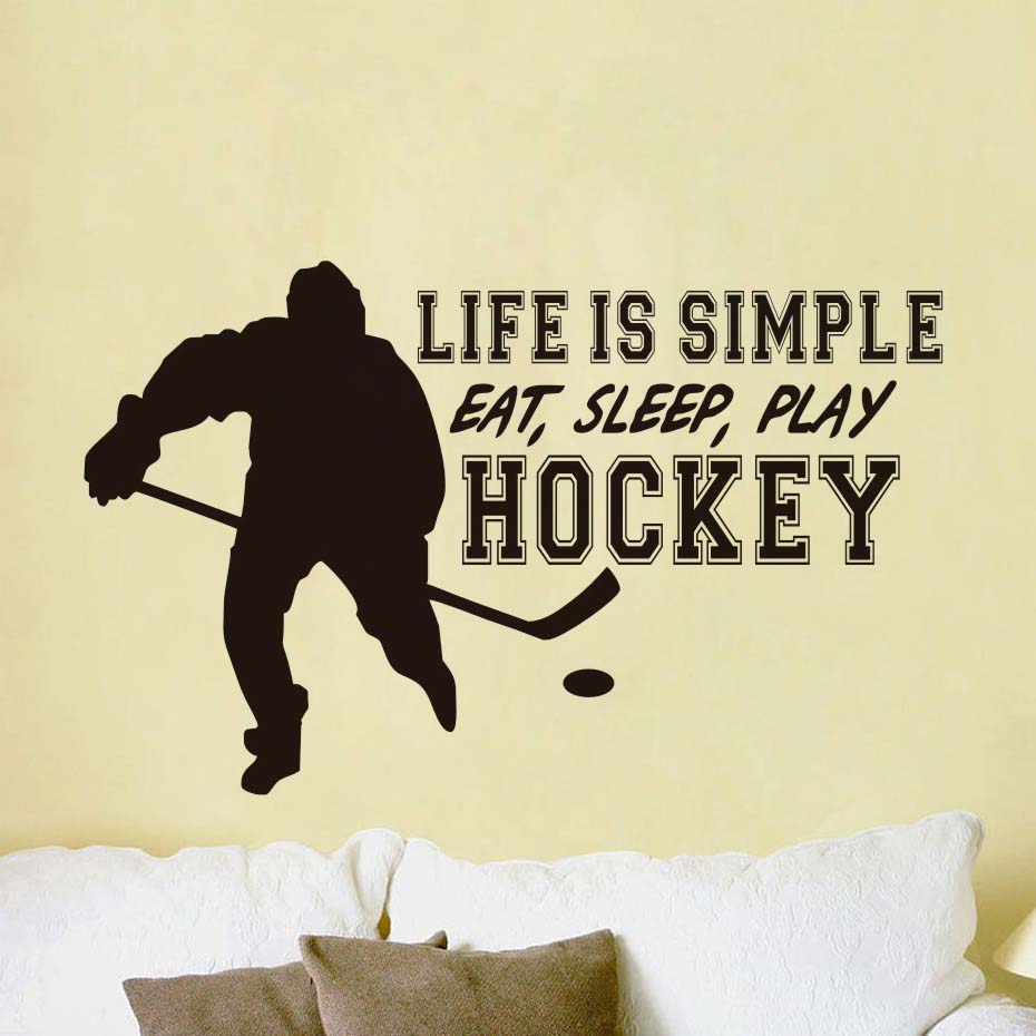 Life Is Simple Eat Sleep Play Hockey Wall Stickers Wall Decorative ...