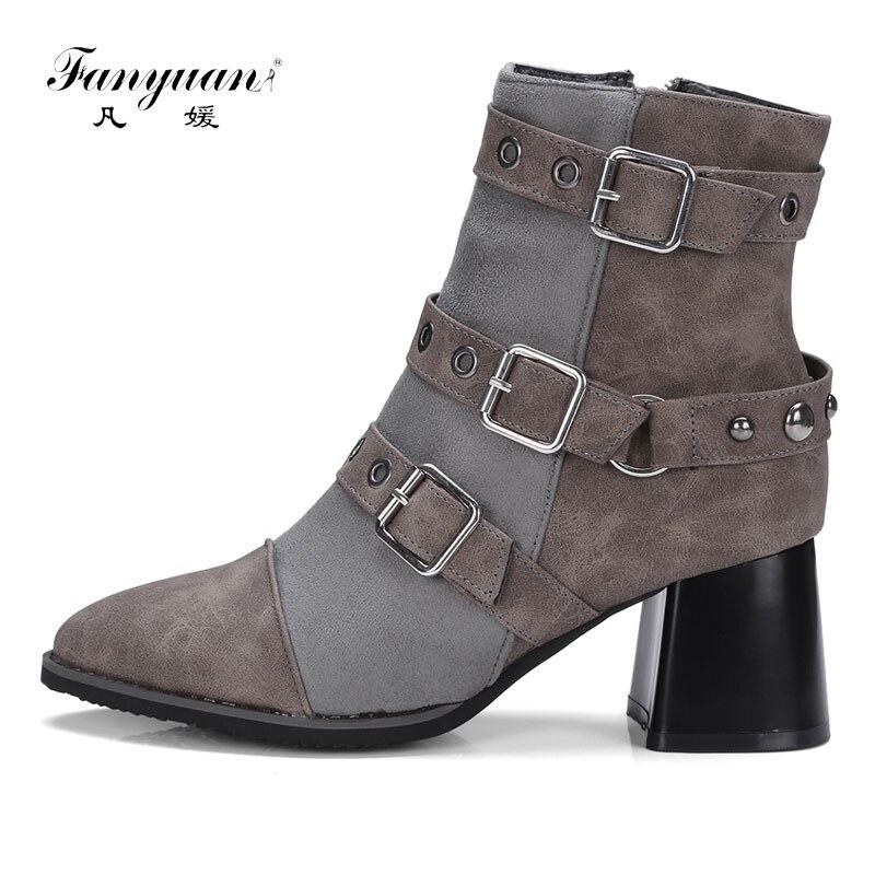 Fanyuan femmes bottes talon carré bottines bout pointu automne hiver dames Rivet chaussure femelle fermeture éclair boucle mélange couleur bottes d'équitation