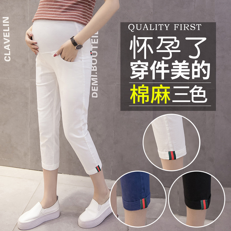 3037# Summer Fashion Maternity Skinny Pants Elastic Waist Belly Pencil Capris Clothes for Pregnant Women Thin Linen Pregnancy3037# Summer Fashion Maternity Skinny Pants Elastic Waist Belly Pencil Capris Clothes for Pregnant Women Thin Linen Pregnancy