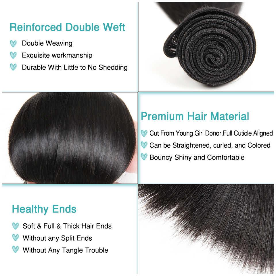 Ali graça cabelo peruano em linha reta com fechamento 3 pacotes com 13*4 parte do meio livre orelha a orelha do laço frontal remy cabelo humano