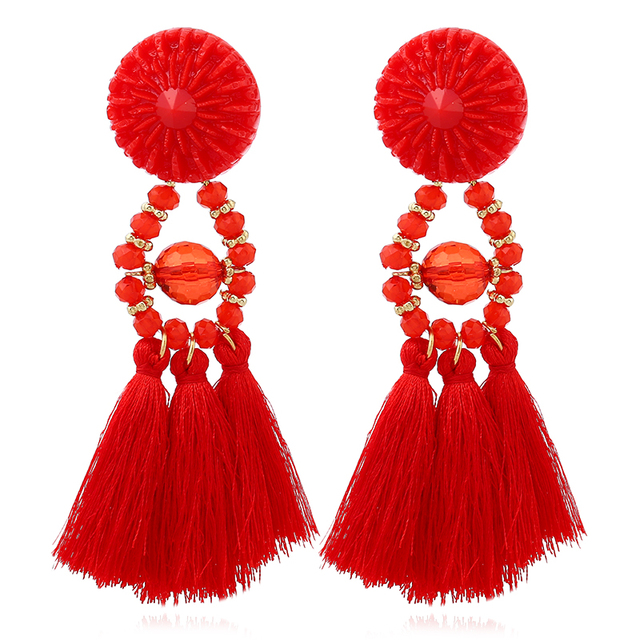 HOCOLE 2017 Brincos Women Brand Boho Drop Dangle Fringe Earring Vintage ethnic Statement Tassel earrings fashion jewelry Charms 2