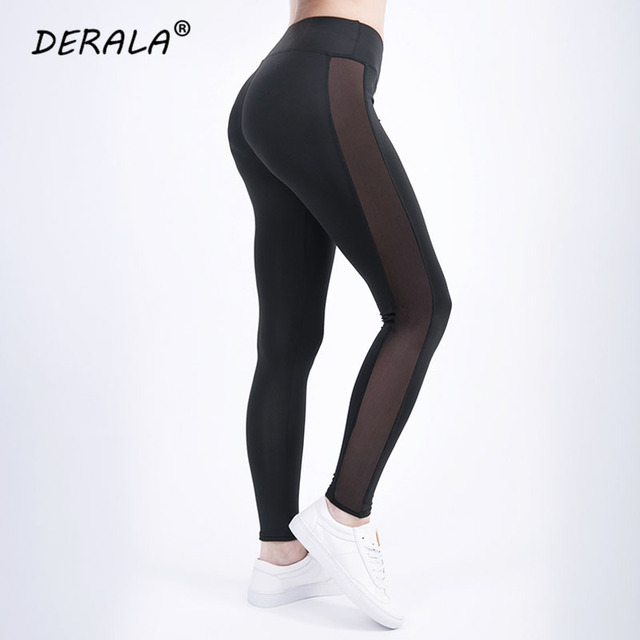bfab37505a 2018 Ladies Side Mesh Insert Fitness Legging Women Summer Stretchy Mesh  Panel Workout Leggings High Rise