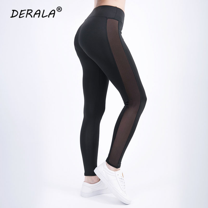 2018 Ladies Side Mesh Insert Fitness   Legging   Women Summer Stretchy Mesh Panel Workout   Leggings   High Rise Leggins Fitness Pants
