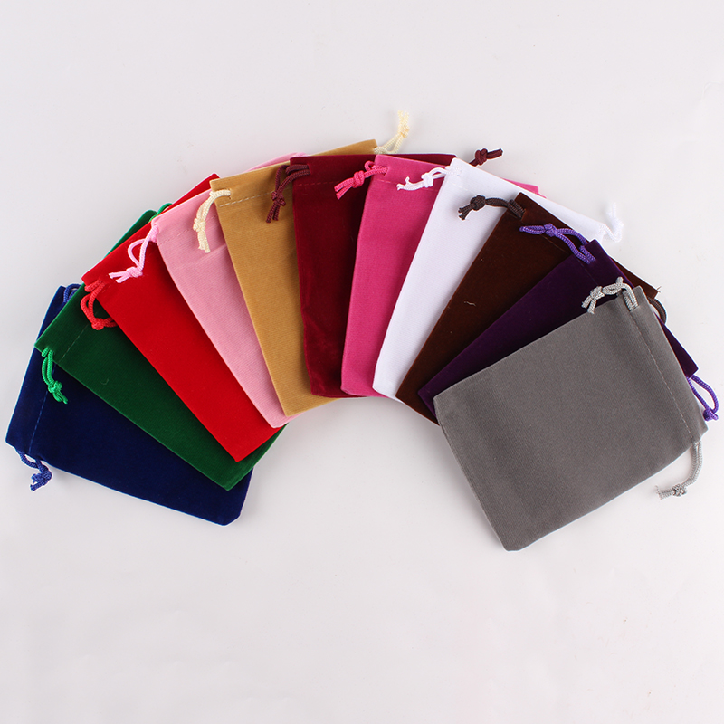 100pcs/lot 9*12cm Custom Logo Printed Large Drawstring Wedding Gift Bags Velvet Pouch Packing Bags