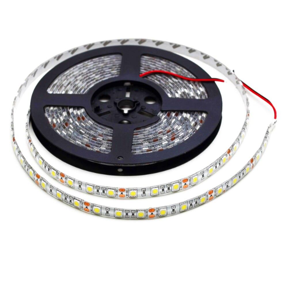 LED Light Bar Tape LED Strip Lamp String White DC12V 12W 5M Flexible Waterproof