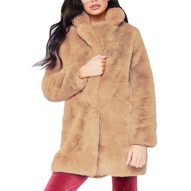 OEAK 2018 Women Faux Fur Long Coat Winter Warm Fluffy Cardigan Jacket Female Casual Soft Plush Teddy Coat Plus Size Pink Outwear 1
