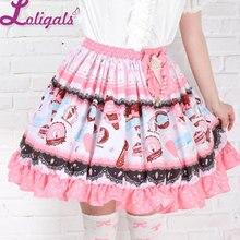 Милые розовые юбки в стиле Лолиты с оборками