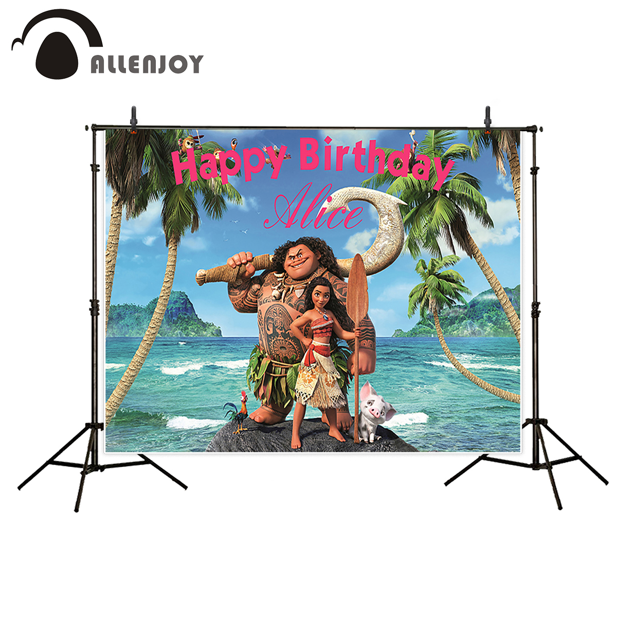 цена на Allenjoy Girls Moana Birthday backdrops background Waialiki Maui Party photo Banner for photography studio newborn baby children