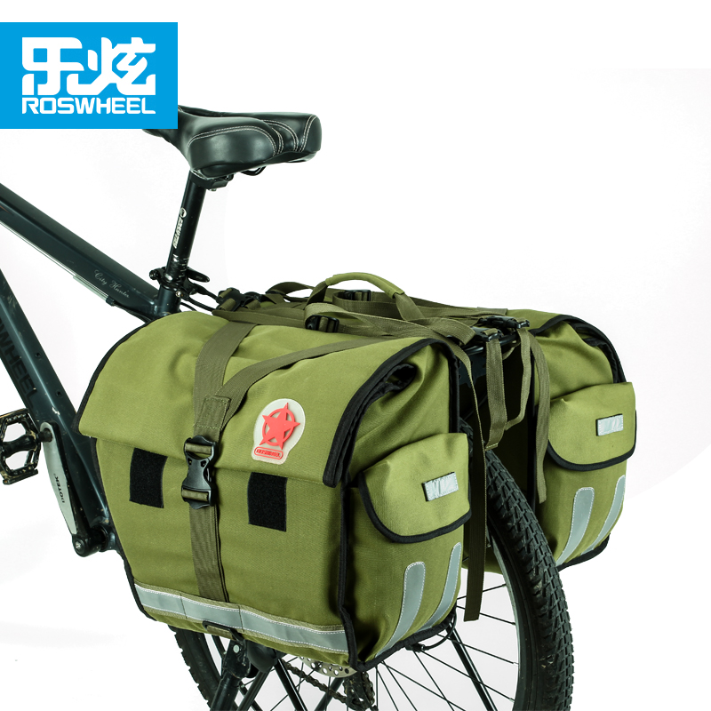 Roswheel 50L waterproof canvas bike trunk bag bicycle bag cycling bags accessories durable reflective for long distance trip wheel up bicycle rear seat trunk bag full waterproof big capacity 27l mtb road bike rear bag tail seat panniers cycling touring