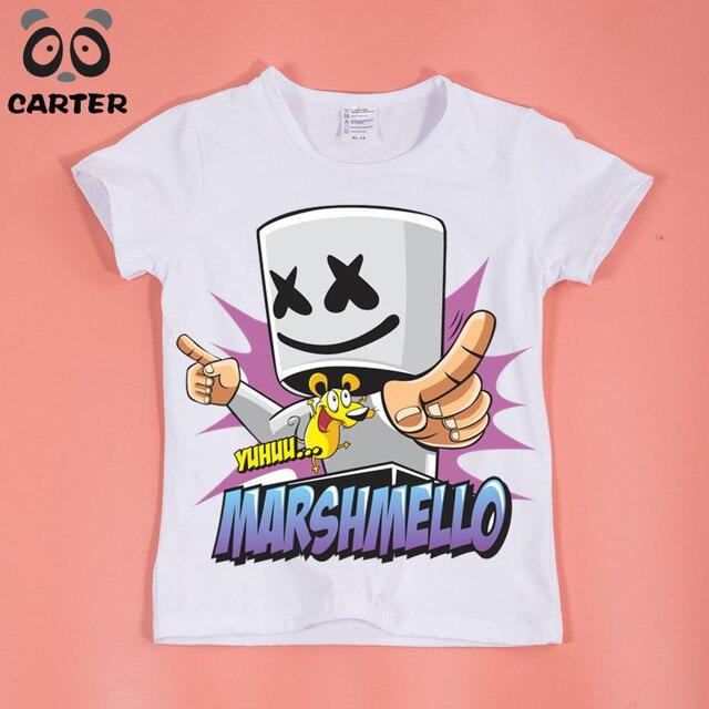 boy girl famous dj marshmello printed t shirt summer kids tops