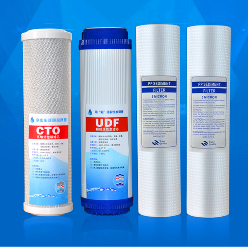 Water Filter Cartridge 2pcs 5Micron PPF Cotton+CTO Activated Carbon Cartridge+ UDF Compressd Activated Carbon For RO system tuffstuff ppf 708