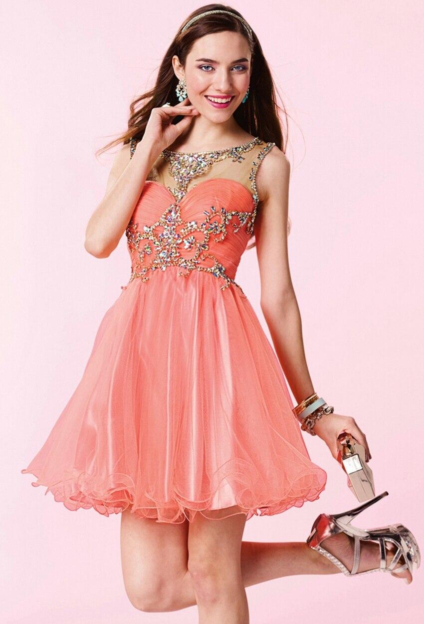vestidos de fiesta cortos color naranja