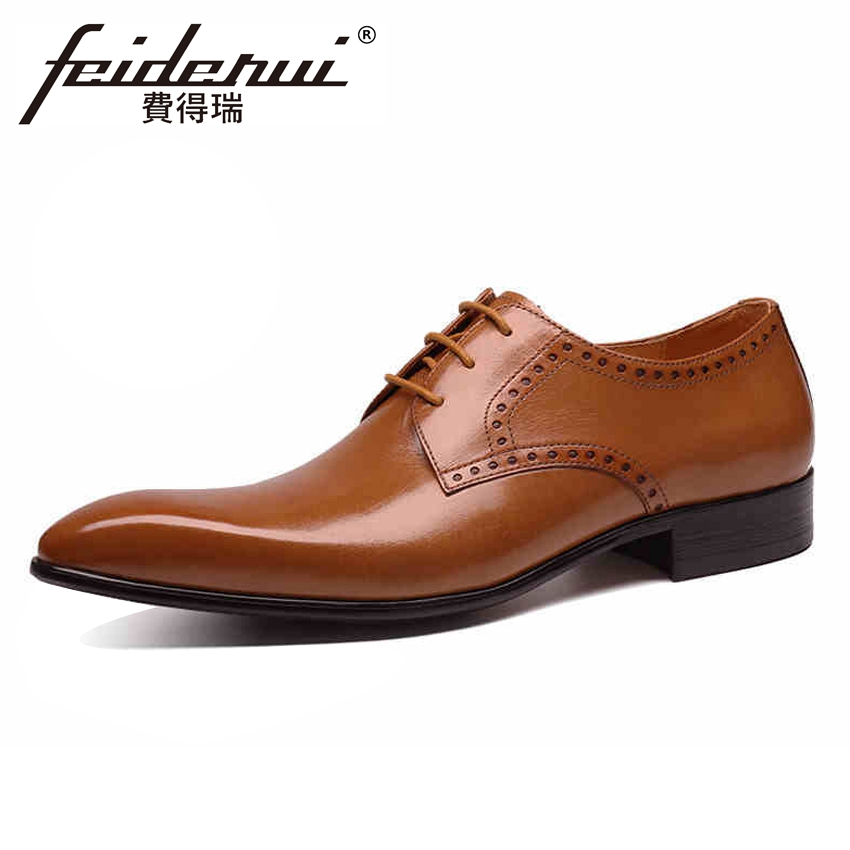 New Luxury Formal Dress Men's Carved Wedding Party Footwear Genuine Leather Handmade Italian Pointed Toe Derby Man Shoes YMX342 цена 2017
