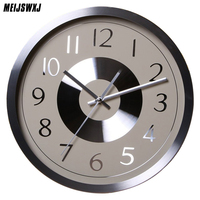 Meijswxj Wall Clock Saat Reloj Round Metal Clock Relogio De Parede Duvar Saati Digital Wall Clocks Horloge Murale Living Room