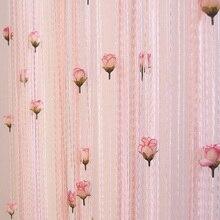 100*200 cm Rose flor línea cortina exclusiva decoración de interior de plata de seda cortina del dormitorio del hotel