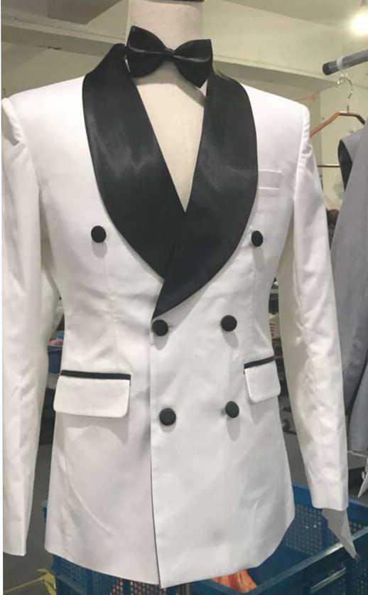 ホワイトカラー新郎タキシードダブルブレスト介添人スーツカスタムメイドの男のスーツテーラードスーツビジネススーツ (ジャケット + パンツ)