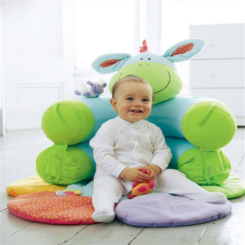 Groene Ezel Opblaasbare Baby Sofa Zetel Blossom Boerderij Zit Me Op Gezellige Zuigeling Speel Matten Zachte Sofa