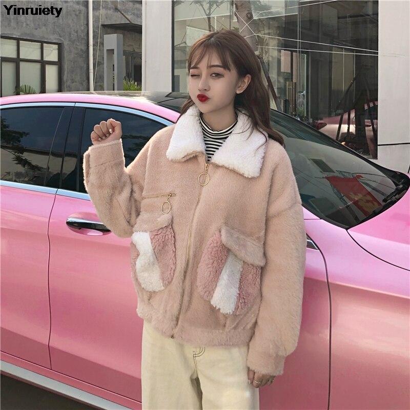 Chaud Couleur Oversize blanc Épaississent Femmes Japonais Contraste Manteau Style Harajuku D'hiver Kawaii Rose Fille Zipper Preppy Mignon Survêtement I0TCCUqw