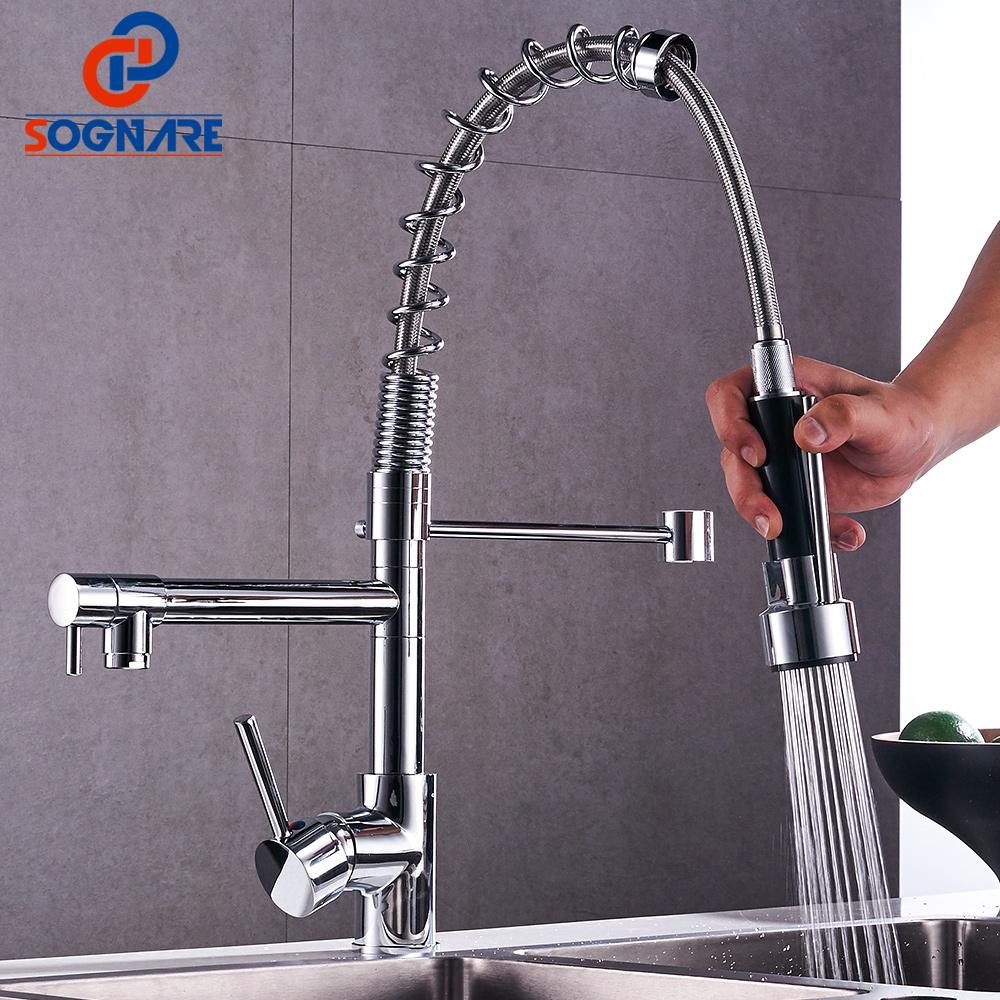 SOGNARE Kitchen Faucet Pull Out Mixer Water Tap Pull Down Kitchen Mixer Sink Faucet Dual Spouts 360 Swivel Handheld Spring Taps free shipping low price promotion brushed nickle solid brass spring kitchen faucet two spouts pull deck mount mixer faucet zr659