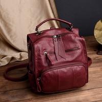 LANYIBAIGE 2018Women Backpack Female Casual Multifunction School Bag Designer Leather Shoulder Bag Women Travel Backpack mochila