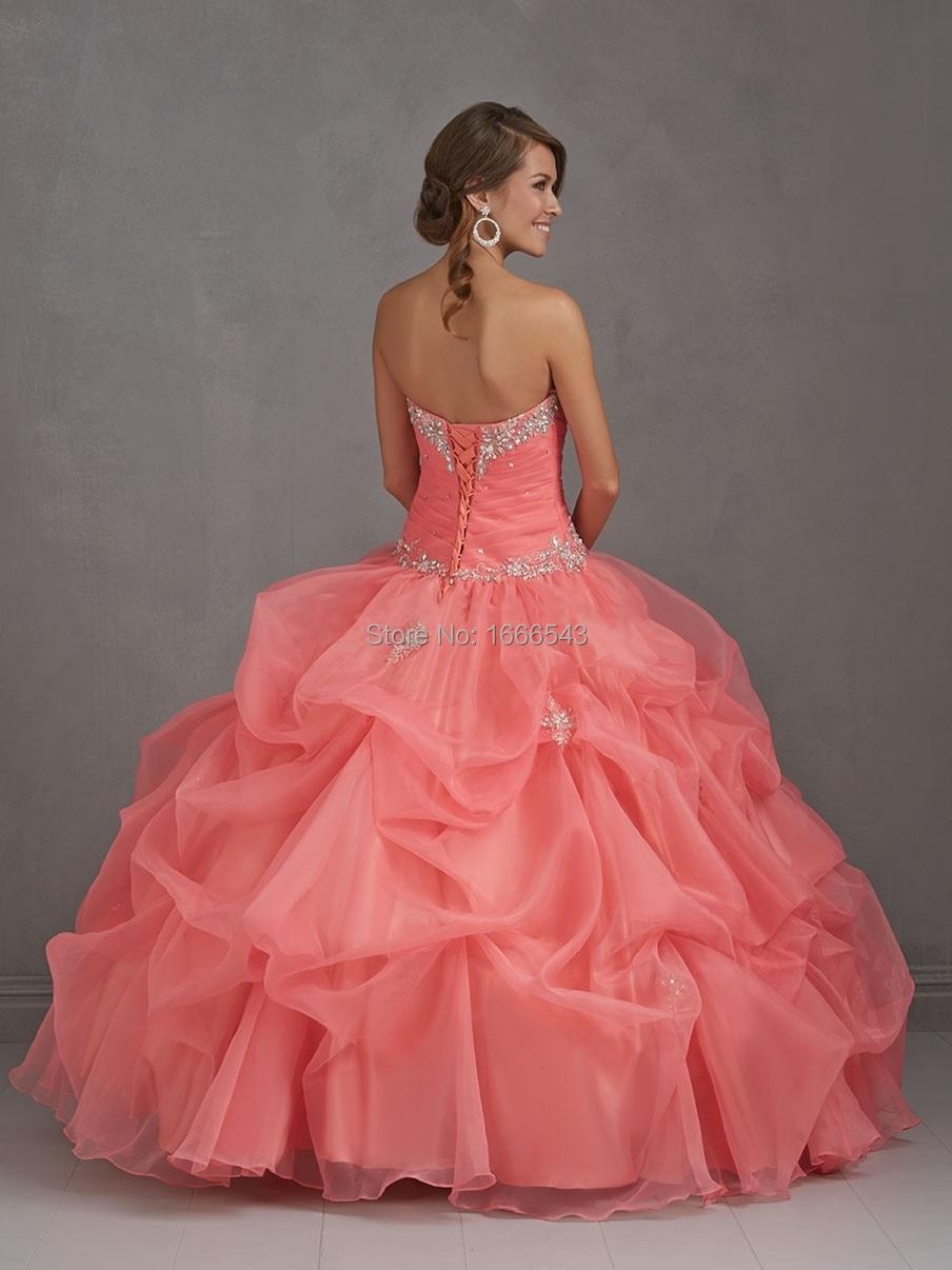 Últimas moda Coral quinceañera Vestidos novia 2015 del Organza ...