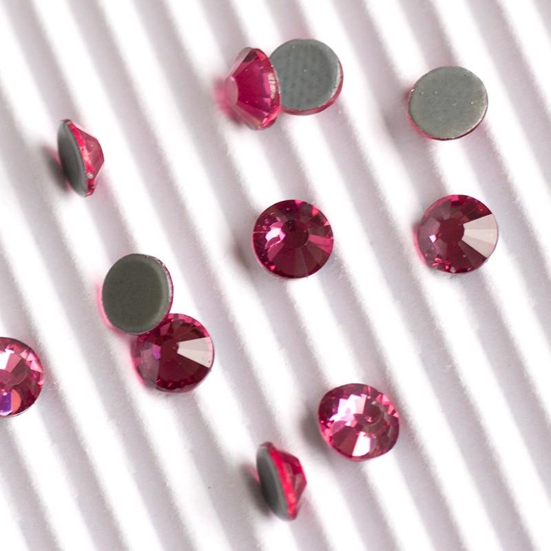 YANRUO 2058HF Rose Hot Fix Flat Back Rhinestone Strass Heat Iron Applicator Rhinestones Stones Crystals Red Beads
