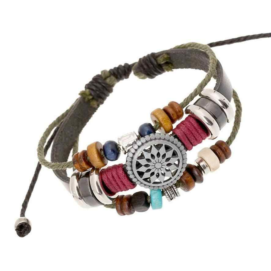 OTOKY Bracelet 2018 Vintage Brand New Bohemia Wind Beaded Multilayer Hand Woven Leather Bracelet 80824
