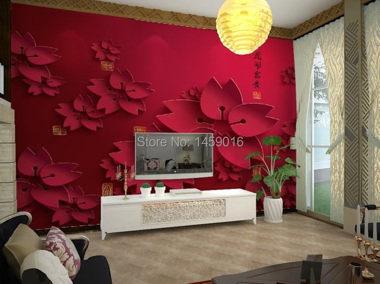 Elegant Online Shop Living Room Bedding/kidu0027s Room,TV Setting Wall 3D Wallpaper Red  Flower Water Proof Papel De Parede 3D Mural Photo Wall Paper | Aliexpress  Mobile Part 5