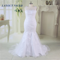 Scoop Neck Mermaid Wedding Dress 2017 Real Pictures Lace Wedding Dress Tulle Bridal Wedding Gown Vestido