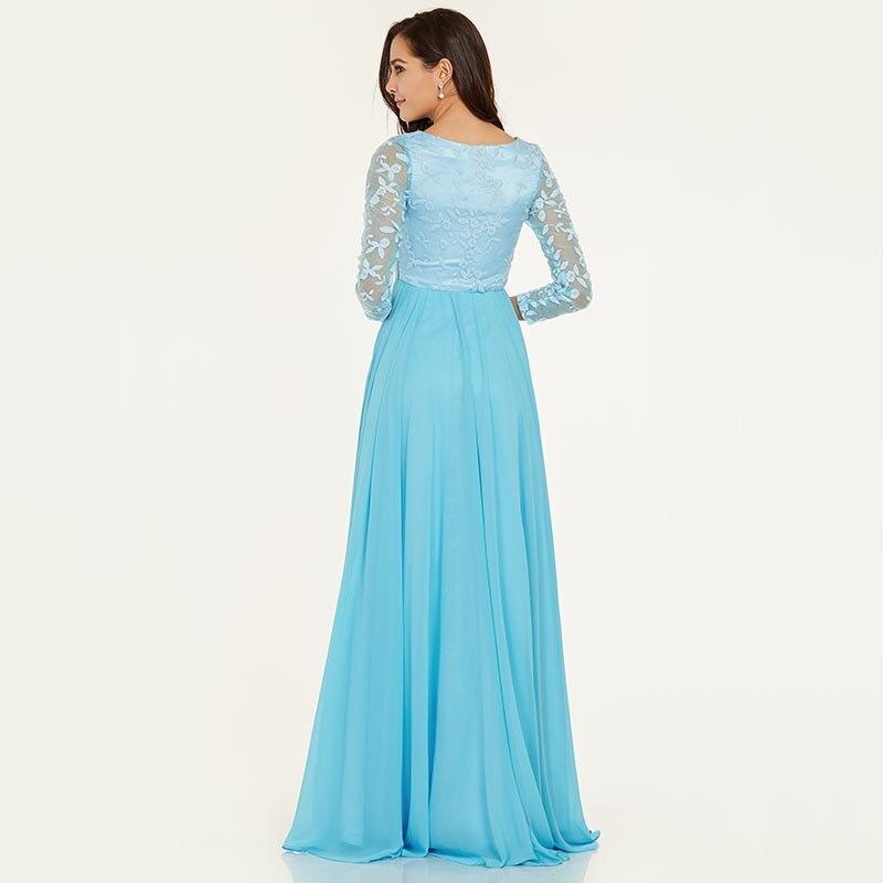 Tanpell duga večernja haljina led plava bateau vrat puna rukavima - Haljina za posebne prigode - Foto 3