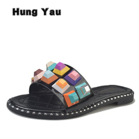 Hung Yau Women Leather Slippers Female Summer Diamond Color Rivets Sandals Punk Slippers Black Roman Cool
