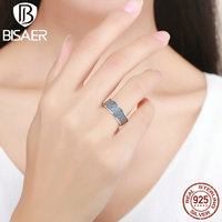 Vintage 100 925 Sterling Silver Petals Of Love Sweet Blue CZ Ladies Finger Rings For Women
