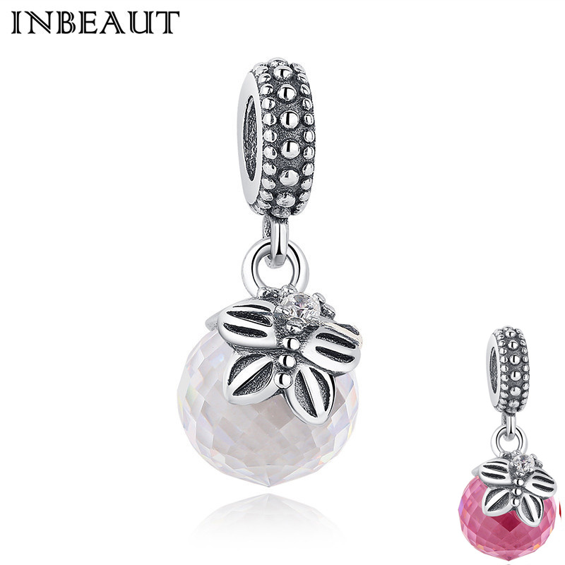 INBEAUT Wedding Necklace Chain 925 Sterling Silver Pink White Crystal Ball Pendant Women Cute Zircon Charm fit Pandora Bracelet