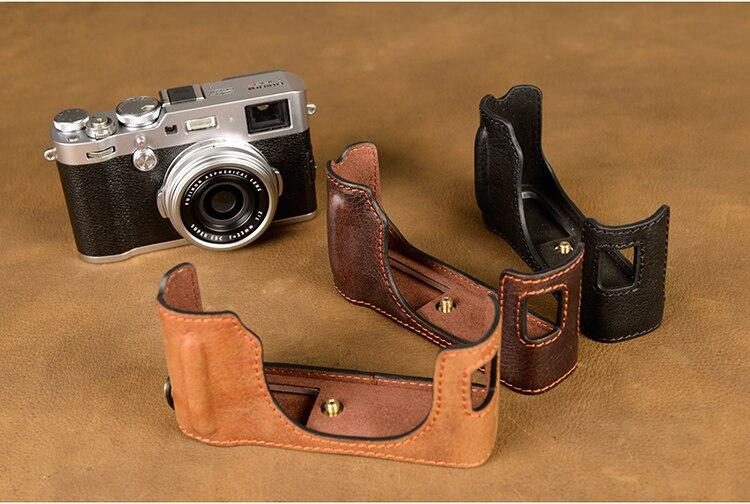AYdgcam Brand Handmade Genuine Leather Camera case For Fujifilm X100F X100-F Camera Bag Half Cover Vintage Case [vr] genuine leather camera case camera half bag handmade cover open battery design for fujifilm x100f fuji x100f x100 f