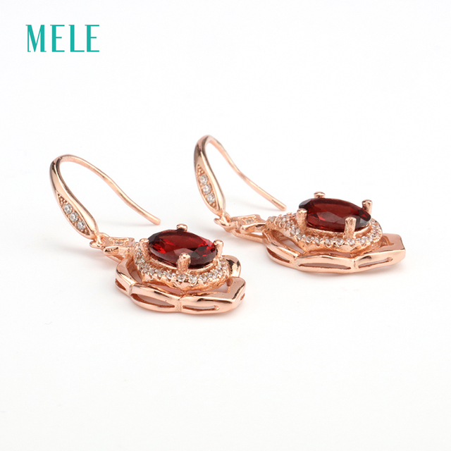 MELE Natural red garnet silver earring, oval 6mm*8mm, flower shape. beautiful and romantic style for ladies